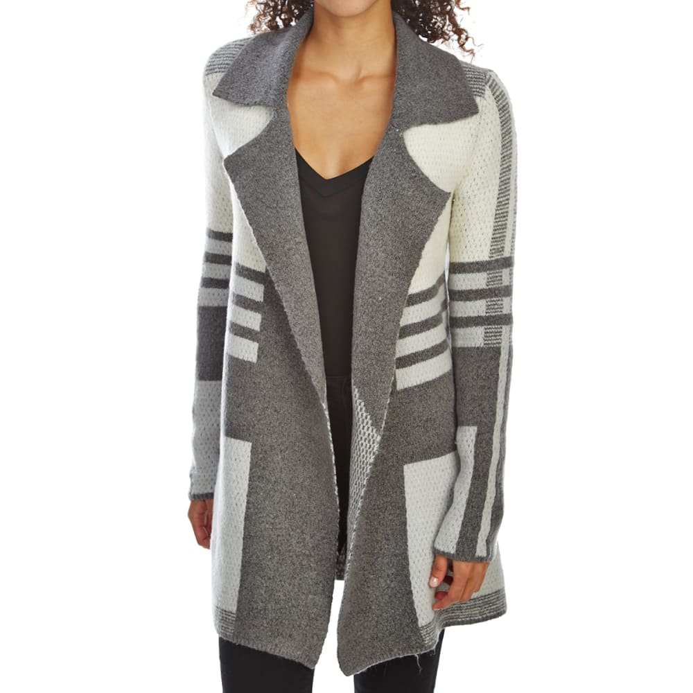 ABSOLUTELY FAMOUS Women's Notch Collar Mixed Stripe Sweater Cardigan - CHARCOAL COMBO