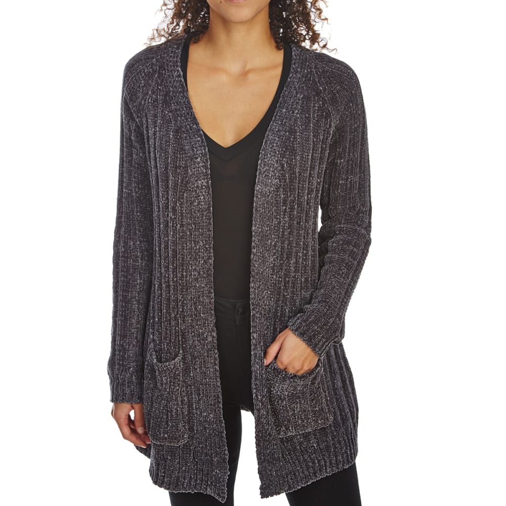 ABSOLUTELY FAMOUS Women's Chenille Rib Boyfriend Cardigan Sweater - GUNMETAL