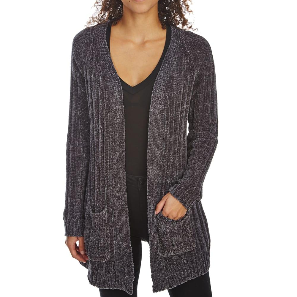 ABSOLUTELY FAMOUS Women's Chenille Rib Boyfriend Cardigan Sweater - GUNMETAL