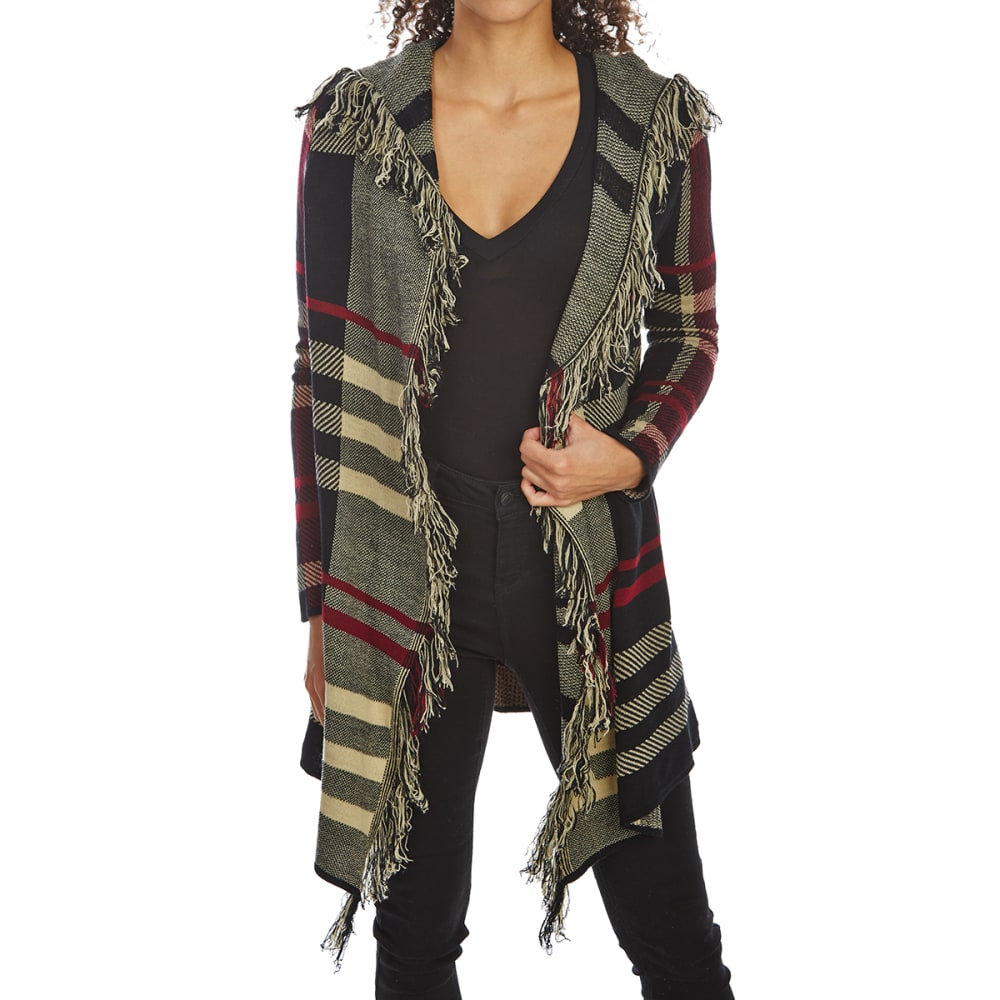 ABSOLUTELY FAMOUS Women's Plaid Jacquard Cascade Sweater Cardigan - BLACK COMBO