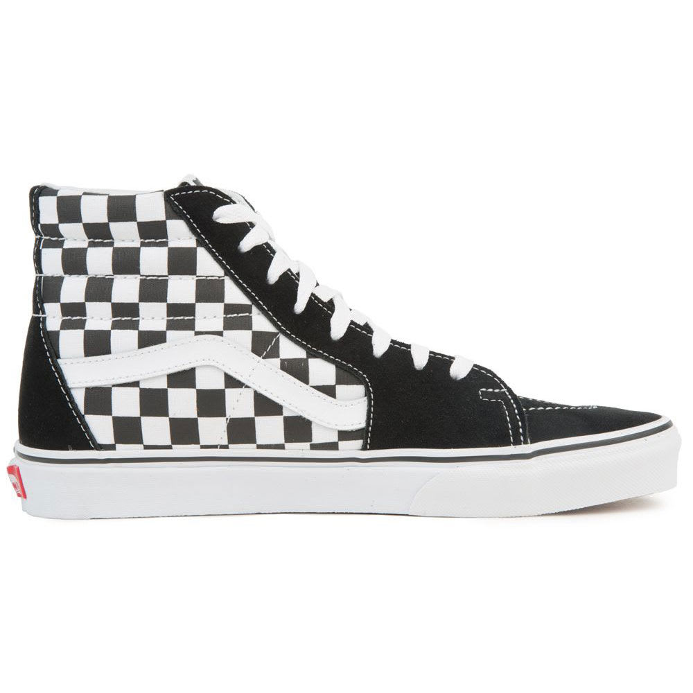 VANS Men's Sk8-Hi Patch Skate Shoes - BLACK/TRUE WHITE