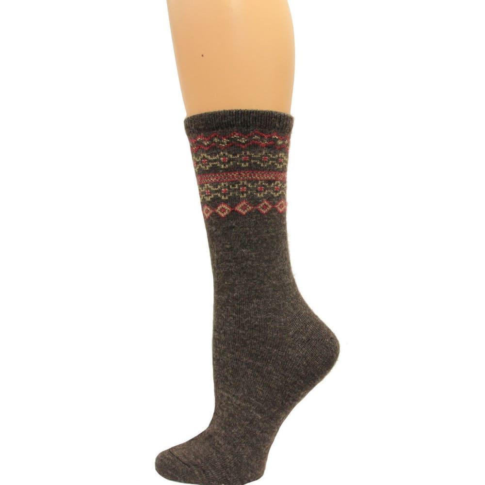 CAROLINA HOSIERY Women's Fair Isle Crew Socks - BROWN
