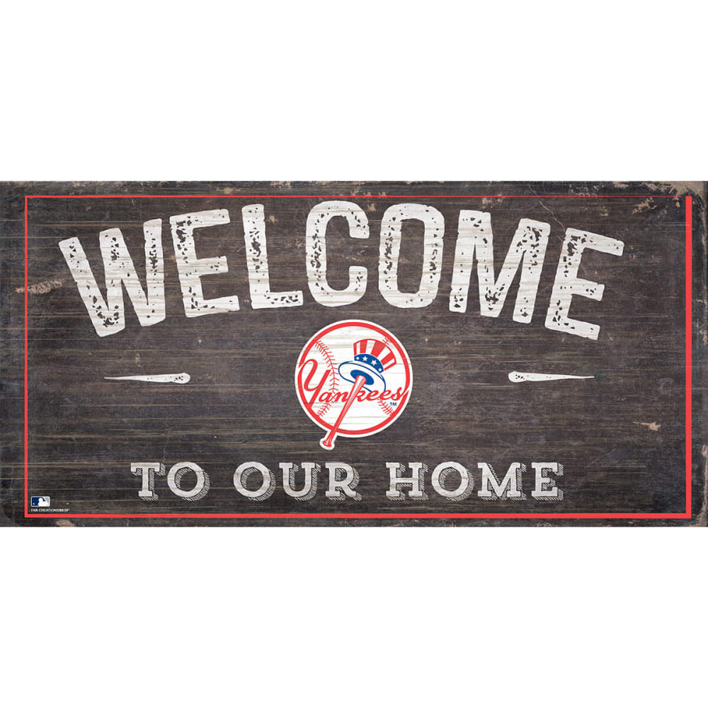 NEW YORK YANKEES 6 x 12 in. Welcome to Our Home Sign - NAVY