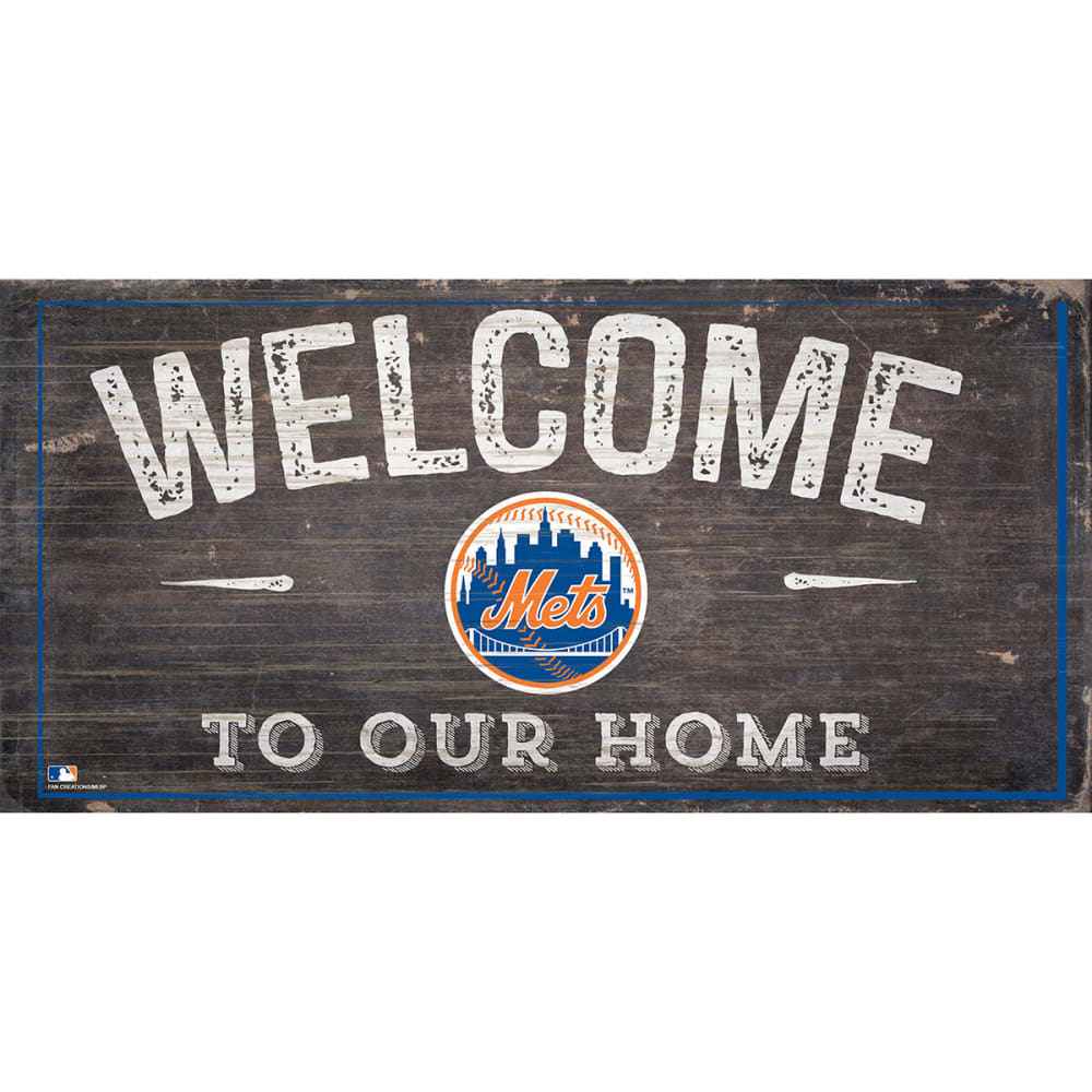 NEW YORK METS 6 x 12 in. Welcome to Our Home Sign - ROYAL BLUE