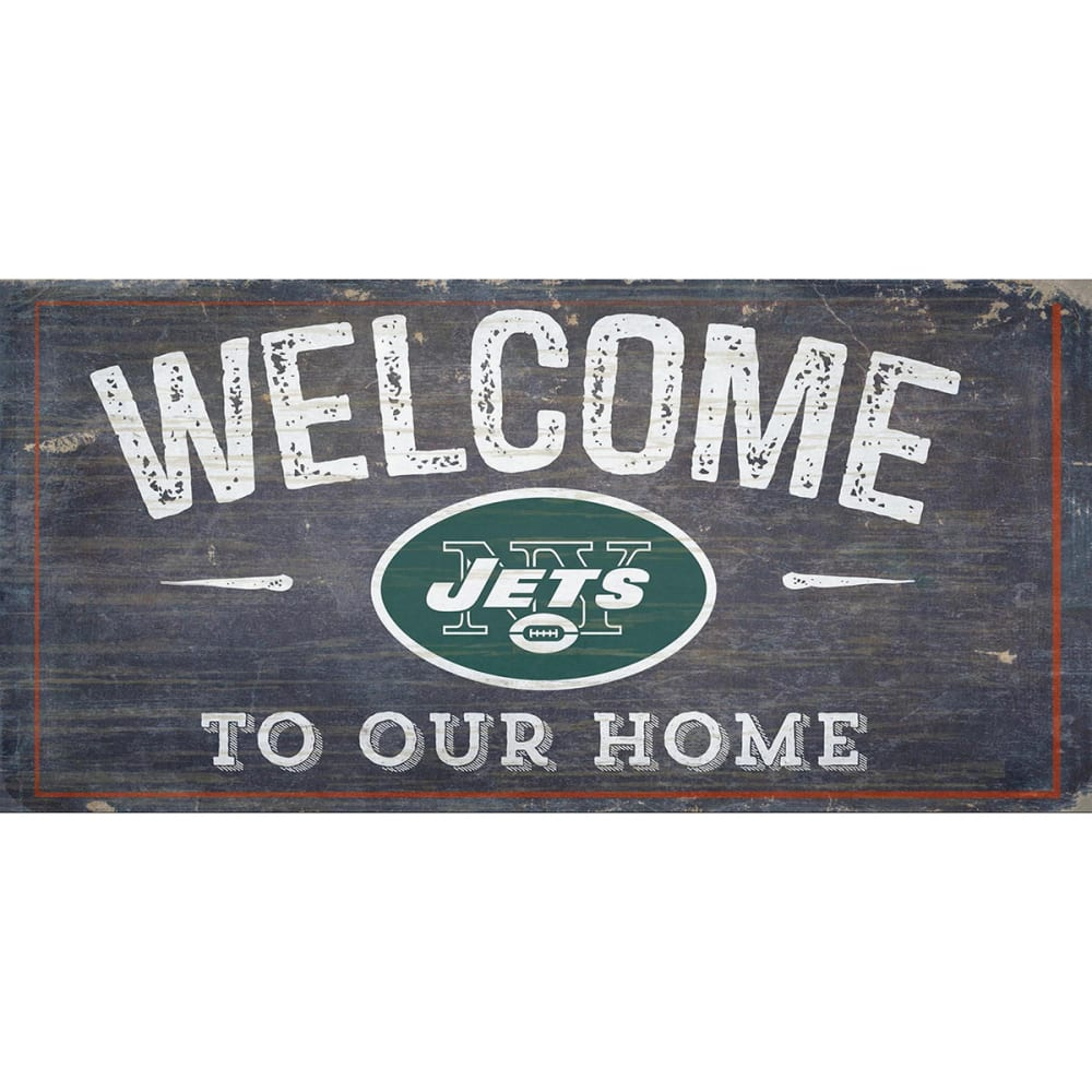 NEW YORK JETS 6 x 12 in. Welcome to Our Home Sign - DARK GREEN