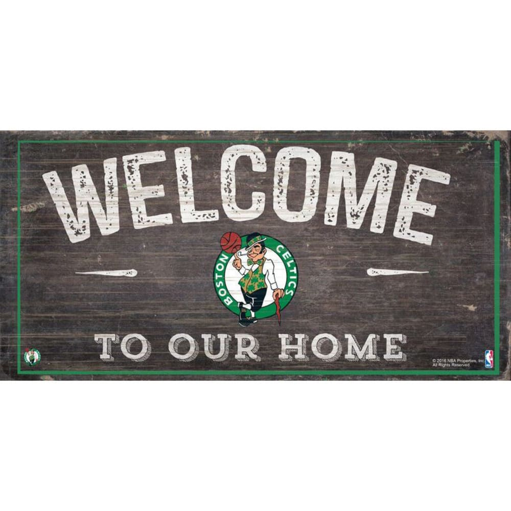 BOSTON CELTICS 6 x 12 in. Welcome to Our Home Sign - KELLY