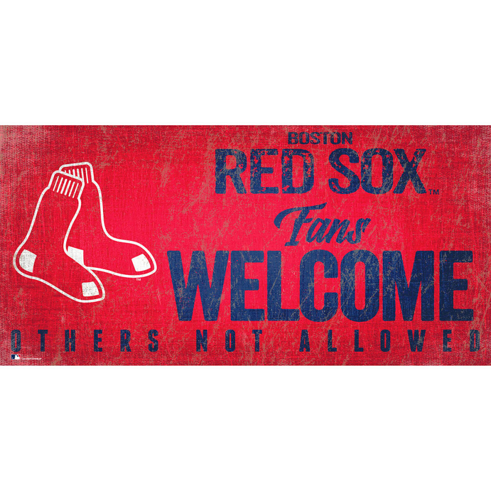 BOSTON RED SOX 6 x 12 in. Welcome Sign - RED
