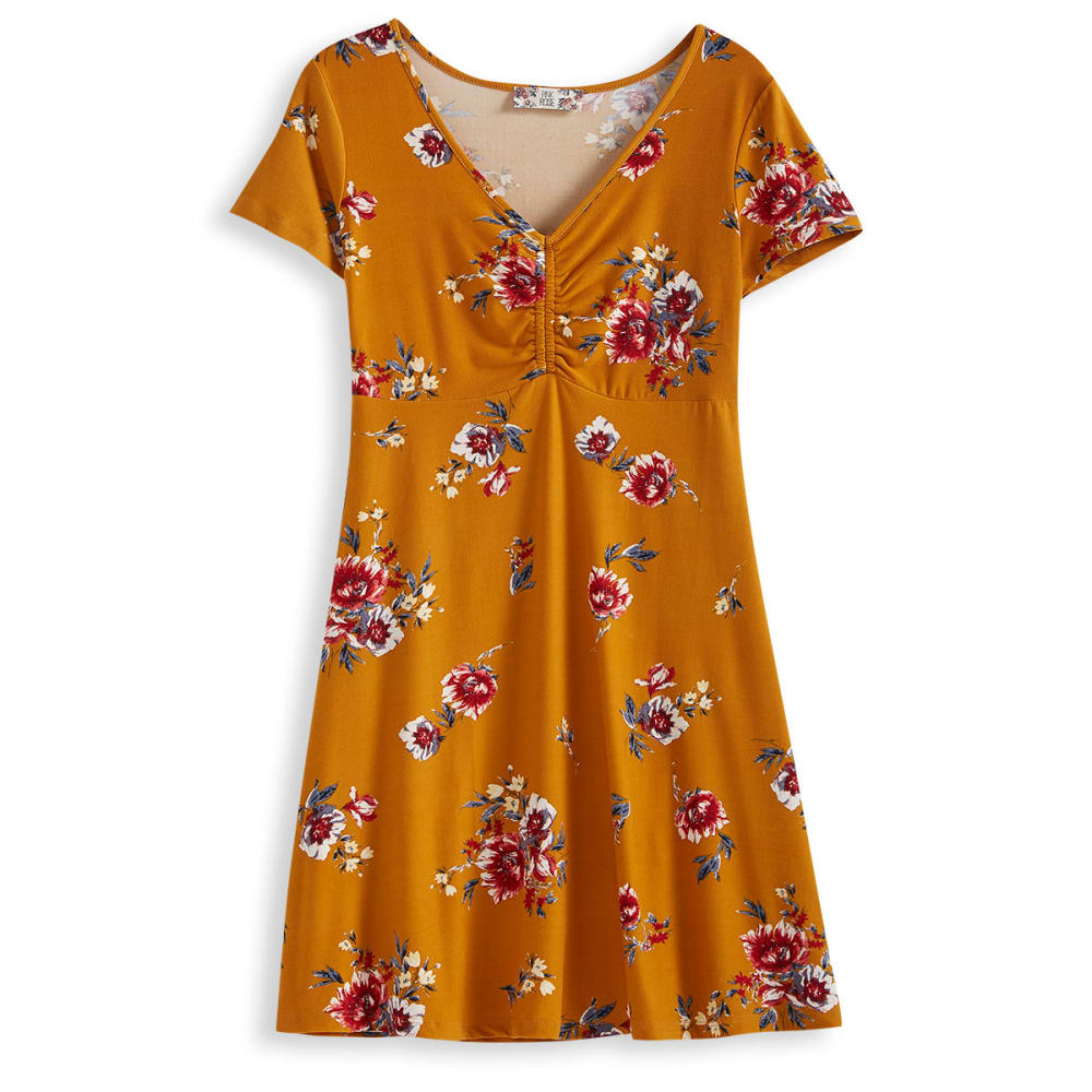Pink Rose Juniors' Print V-Neck Jersey Dress - Yellow, M