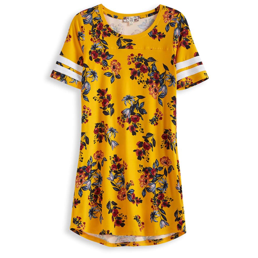 Pink Rose Juniors' Armband Scoop Neck Jersey Dress - Yellow, S