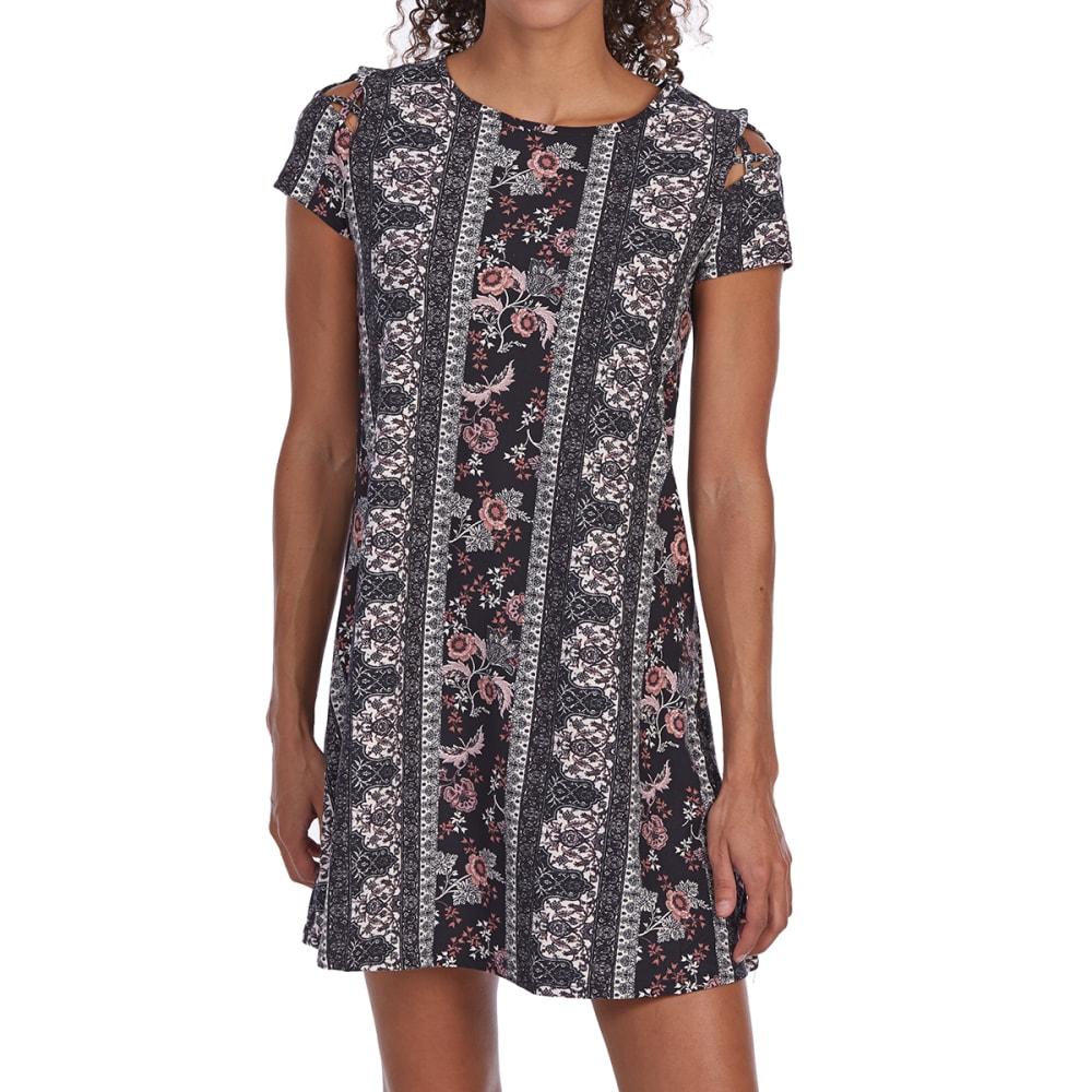 PINK ROSE Juniors' Caged Shoulder Scoop-Neck Jersey Dress S