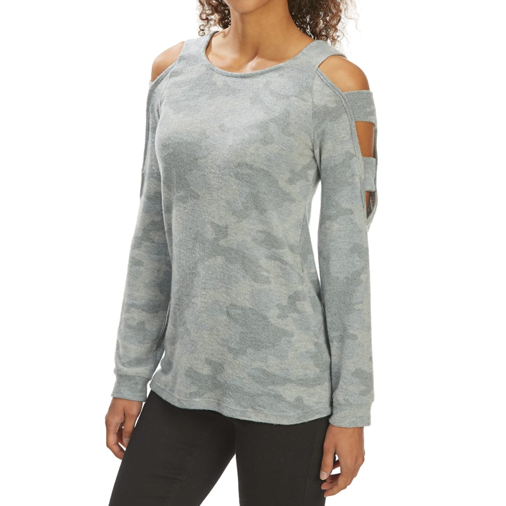 PINK ROSE Juniors' Hacci Knit Long-Sleeve Cold-Shoulder Top - OL CAMO GRY