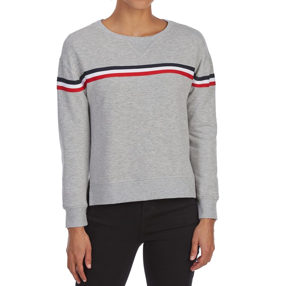 PINK ROSE Juniors' Chest Stripe Burnout High-Low Fleece Pullover - GREY