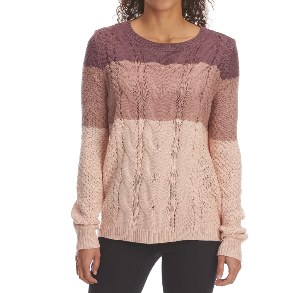 Pink Rose Juniors' Cable Stripe Scoop-Neck Pullover Sweater - Purple, L