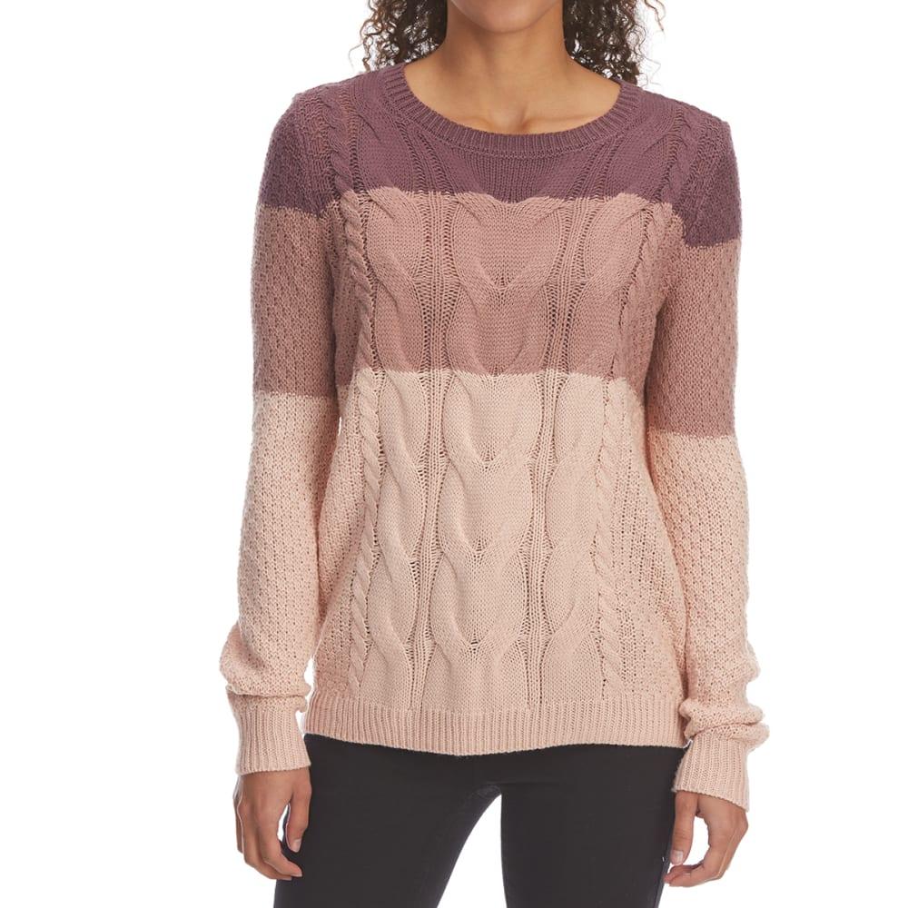 Pink Rose Juniors' Cable Stripe Scoop-Neck Pullover Sweater - Purple, L