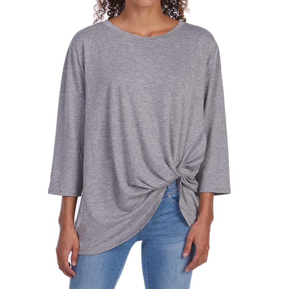 TRESICS FEMME Women's Baby Terry Twist Knot 3/4 Sleeve Top - HEATHER GREY