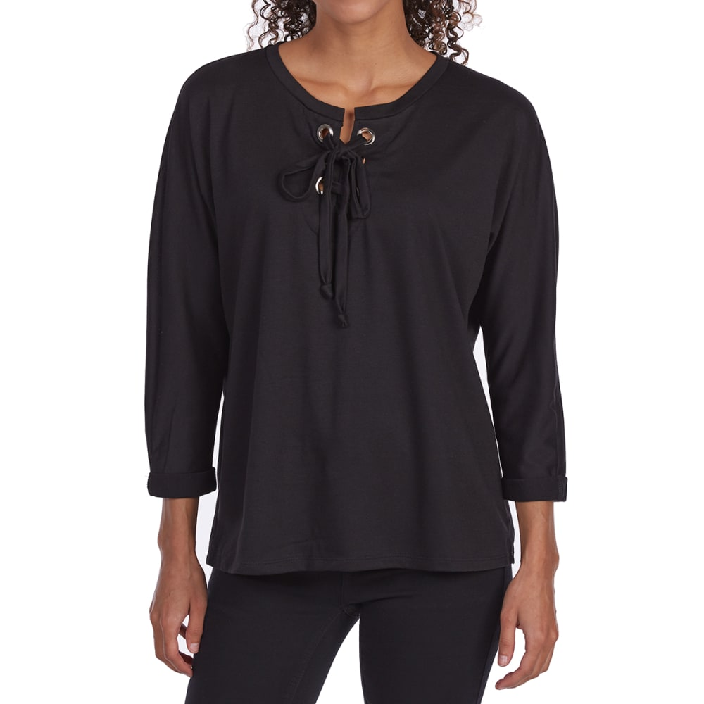 TRESICS FEMME Women's Baby Terry Grommet Lace-Up ¾-Sleeve Top S