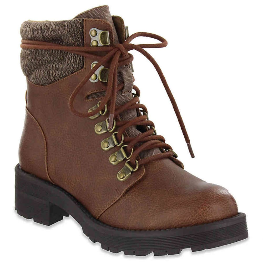 MIA Women's Lindsey Sweater Cuff Lace-Up Boots - LUGGAGE