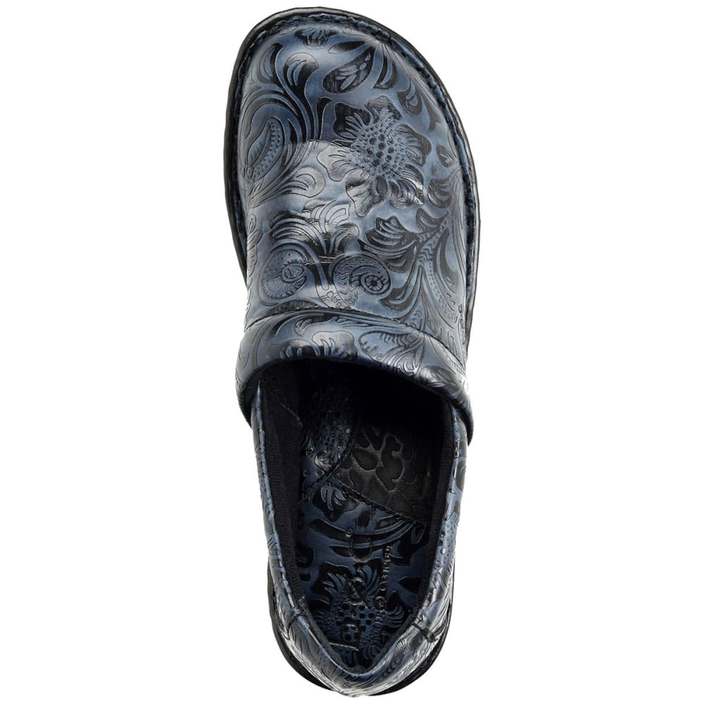 B.O.C. Women's Peggy Tooled Leather Clogs, Wide - NAVY