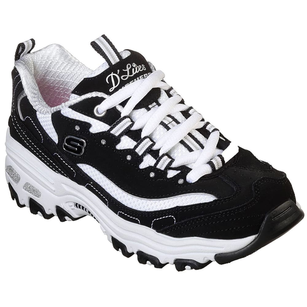 SKECHERS Girls' D'Lites - Biggest Fan Sneakers - BLACK-BKW