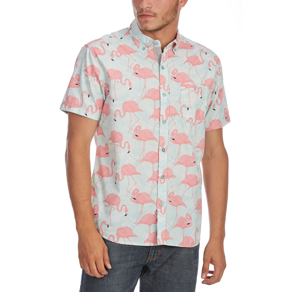 ARTISTRY IN MOTION Guys' Flamingo Print Woven Short-Sleeve Shirt - CLERALY AQUA