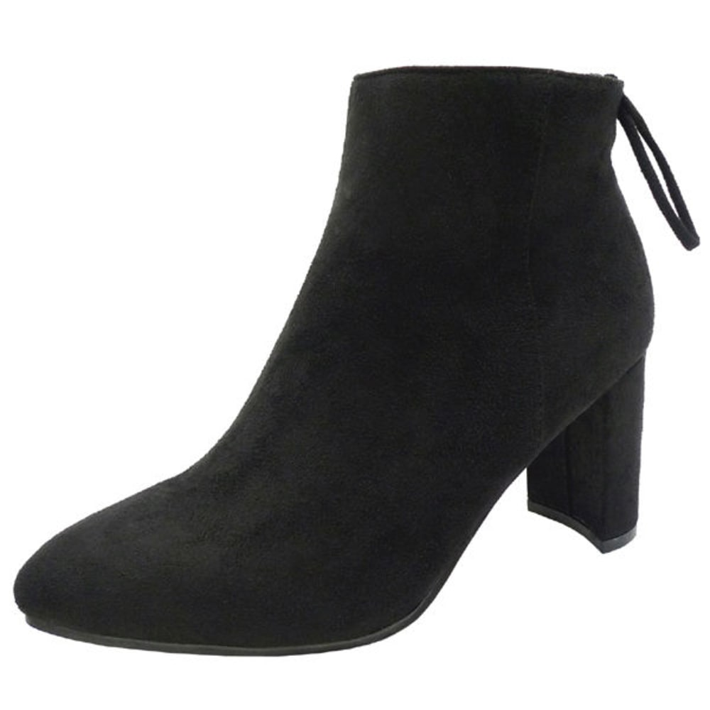 WILD DIVA Women's Blake-01 Tie-Back Booties - BLACK