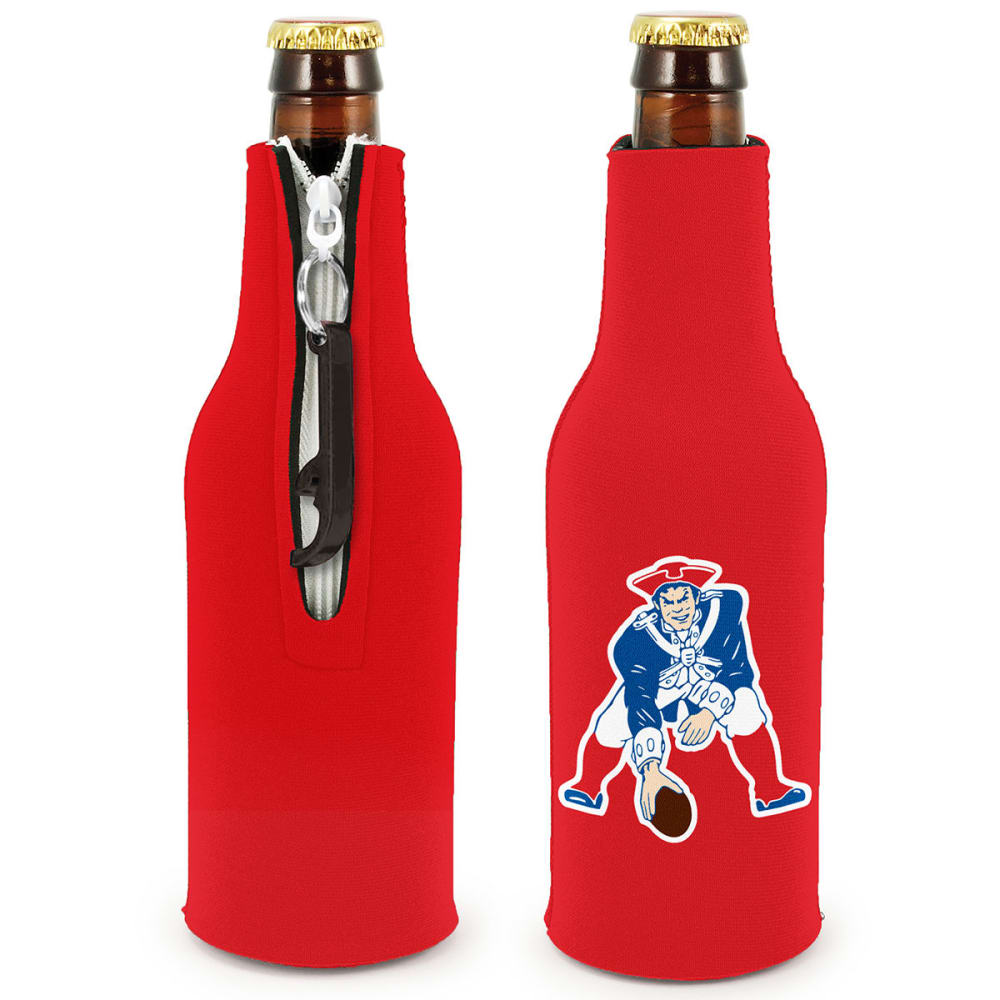 NEW ENGLAND PATRIOTS Pat Zippered Bottle Koozie with Opener - RED