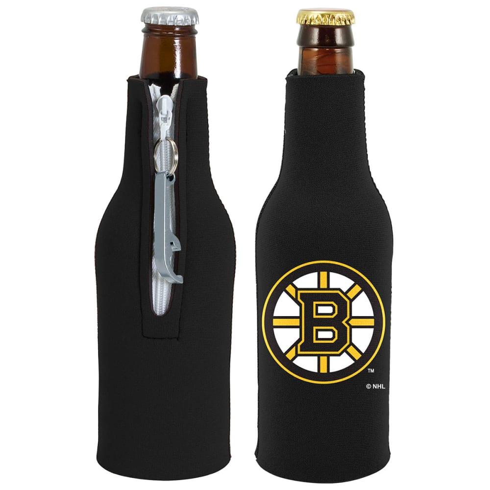 BOSTON BRUINS Zippered Bottle Koozie with Opener - BLACK