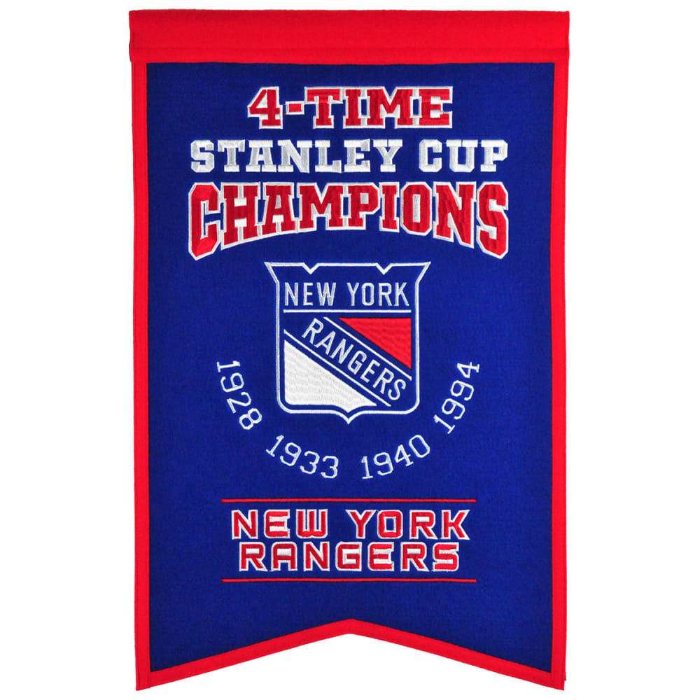 NEW YORK RANGERS 4-Time Stanley Cup Champions Banner - NO COLOR