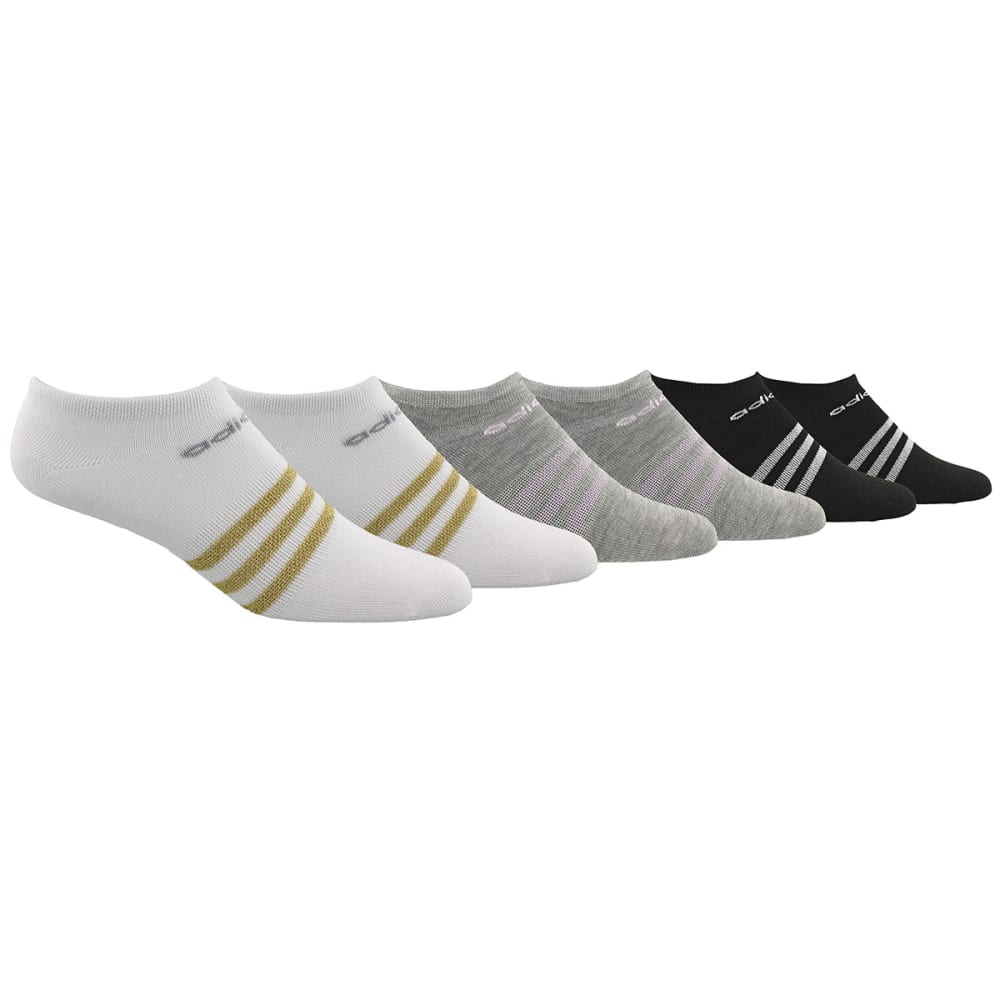 ADIDAS Women's Superlight No Show Socks, 6 Pack - White/ Gold Lurex/ C