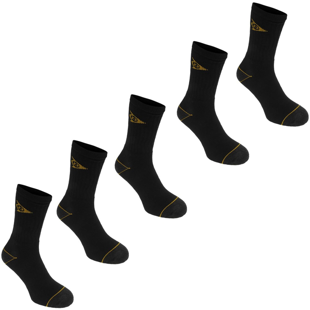 DUNLOP Men's Work Socks, 5-Pack - BLACK