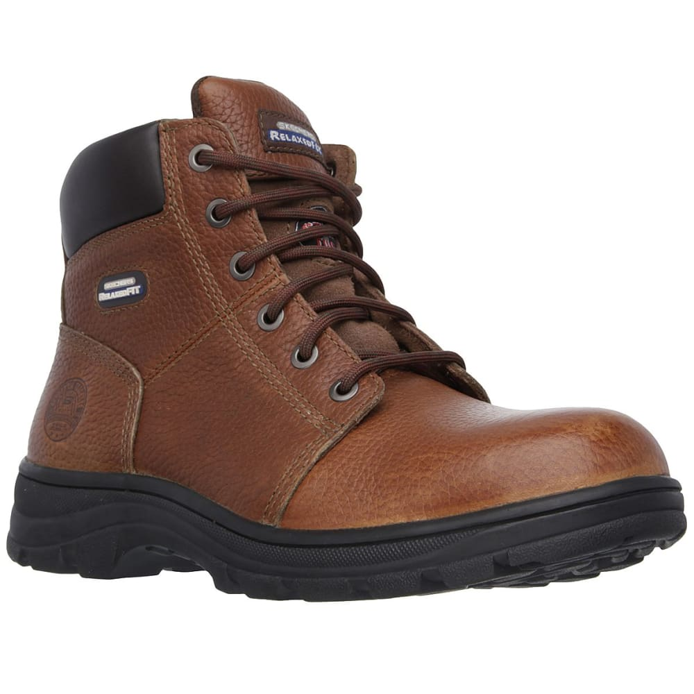 SKECHERS Men's 6 in. Work: Relaxed Fit - Workshire Steel Toe Work Boots - BROWN-BRN