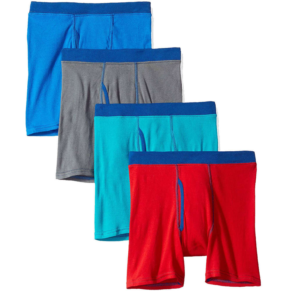 HANES Boys' Ultimate ComfortSoft Cotton Boxer Briefs, 4-Pack - CONTRAST