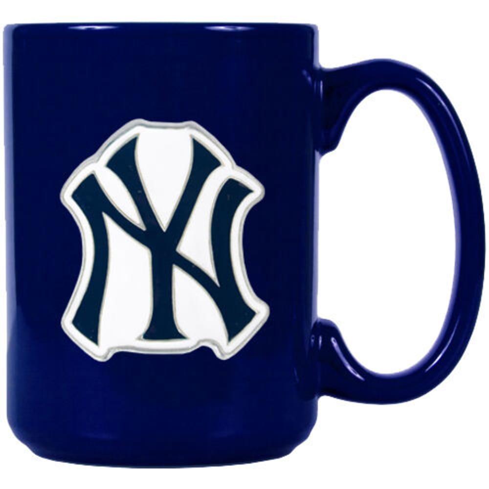 NEW YORK YANKEES 15 oz. 3D Metal Emblem Ceramic Mug - NAVY