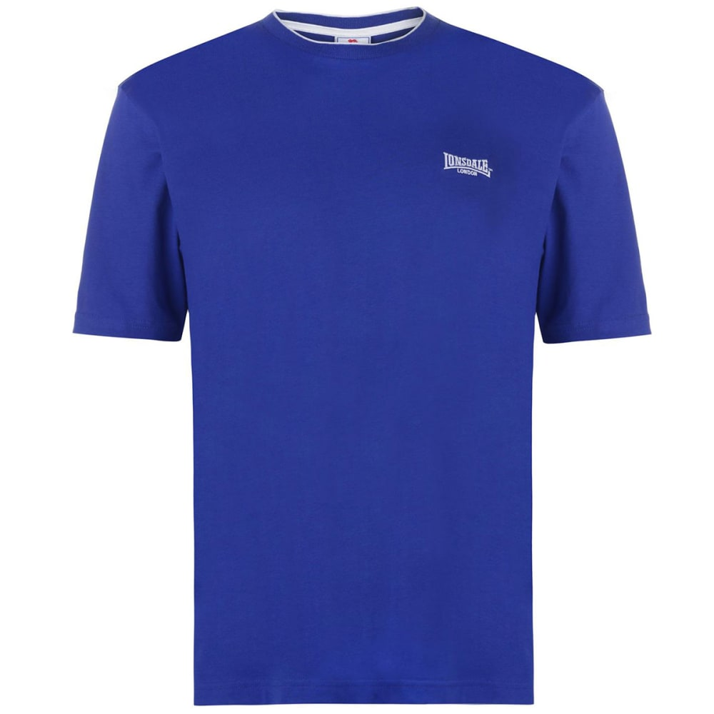 Lonsdale Men's Tipped Tee - Blue, 4XL