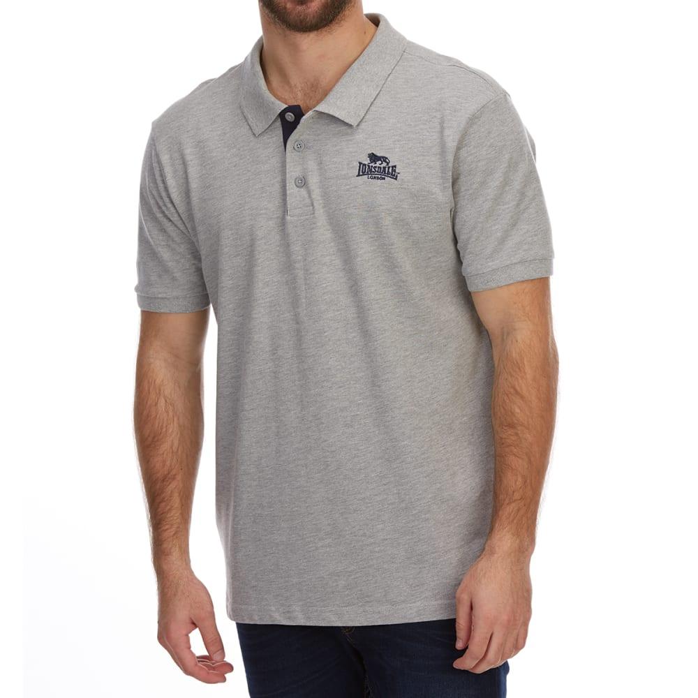 Lonsdale Men's Short-Sleeve Plain Polo Shirt - Black, 4XL