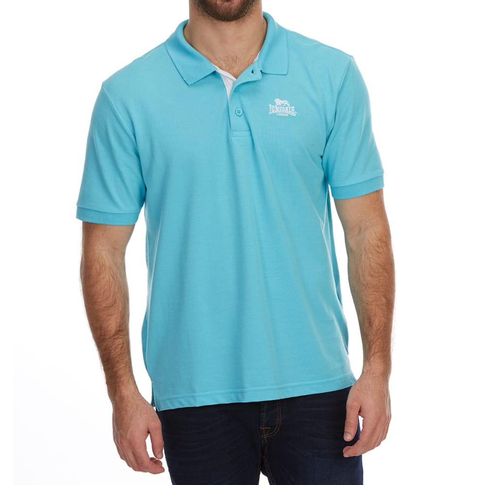 Lonsdale Men's Short-Sleeve Plain Polo Shirt - Blue, 4XL