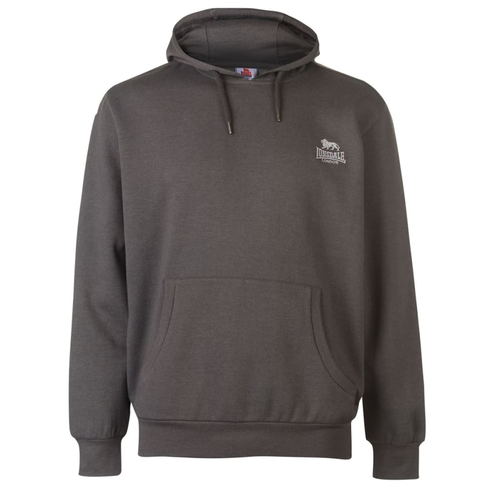 LONSDALE Men's Fleece Pullover Hoodie - Charcoal Marl