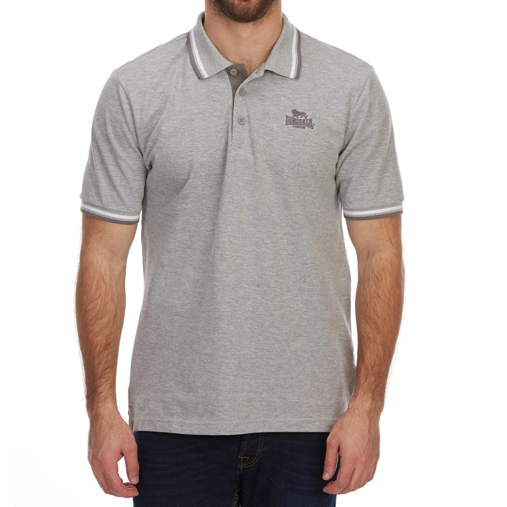 Lonsdale Men's Short-Sleeve Tipped Polo Shirt - Black, 4XL