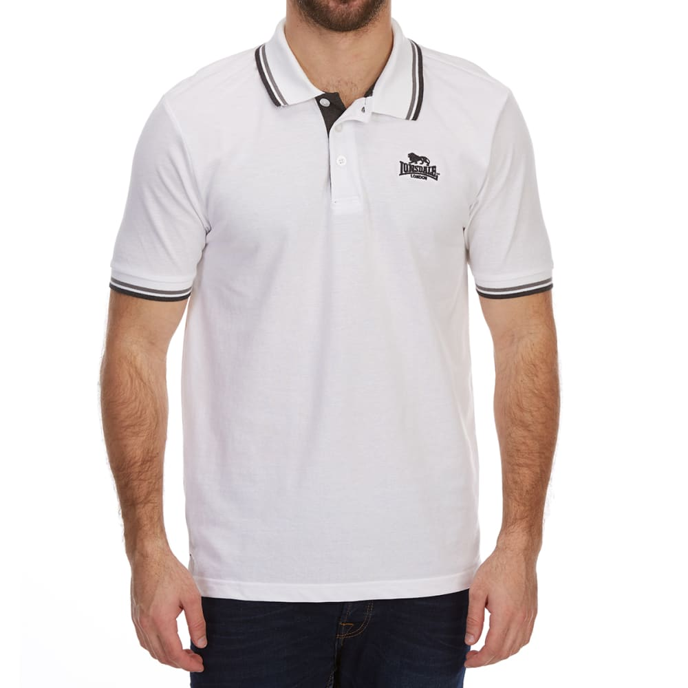 LONSDALE Men's Short-sleeve Tipped Polo Shirt - WHITE