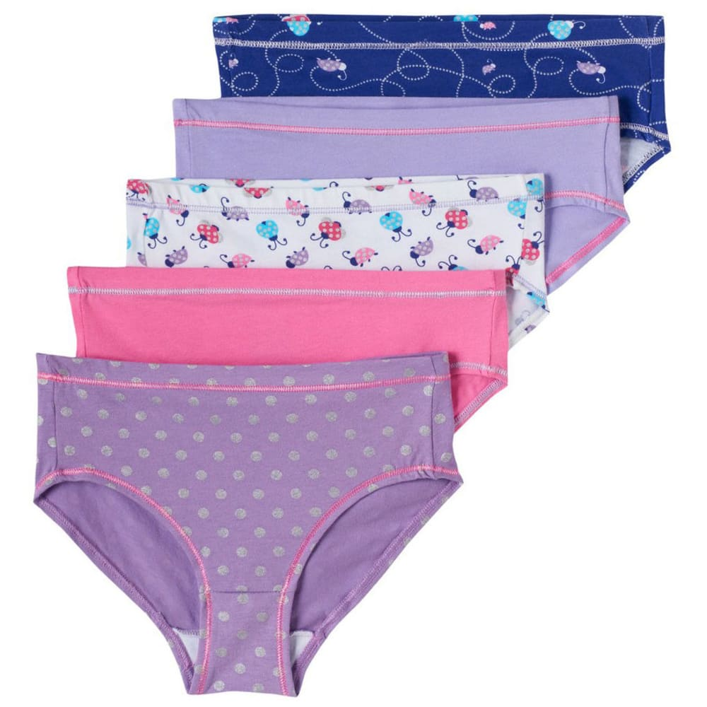 HANES Girls' Cotton Stretch Briefs, 5-Pack - ASSORTED
