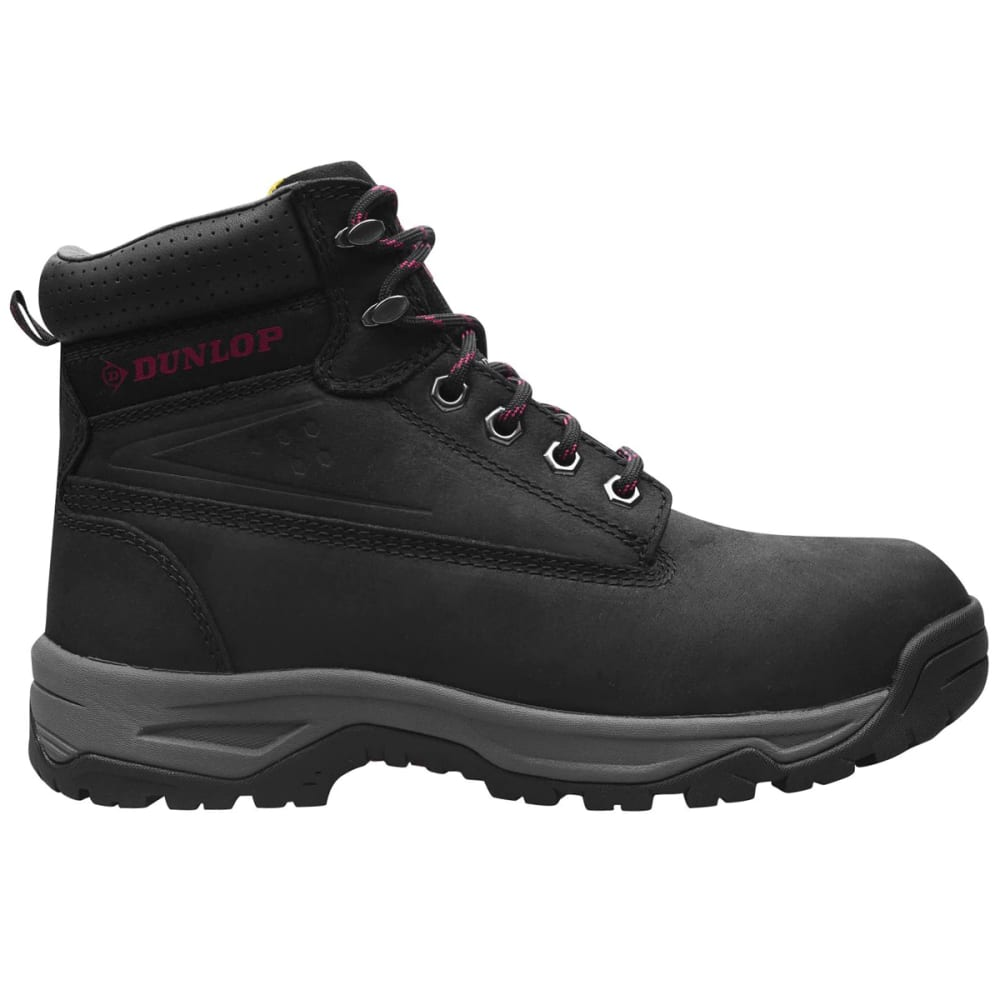 DUNLOP Women's On-Site Mid Steel Toe Work Boots - BLACK