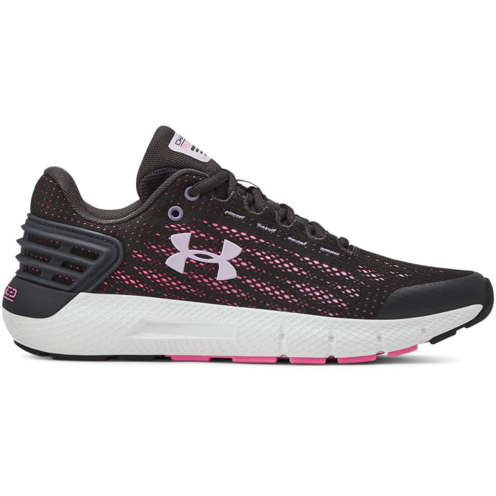 UNDER ARMOUR Girls' Grade School Charged Rogue Running Shoes - JET GRAY/PURPLE-100