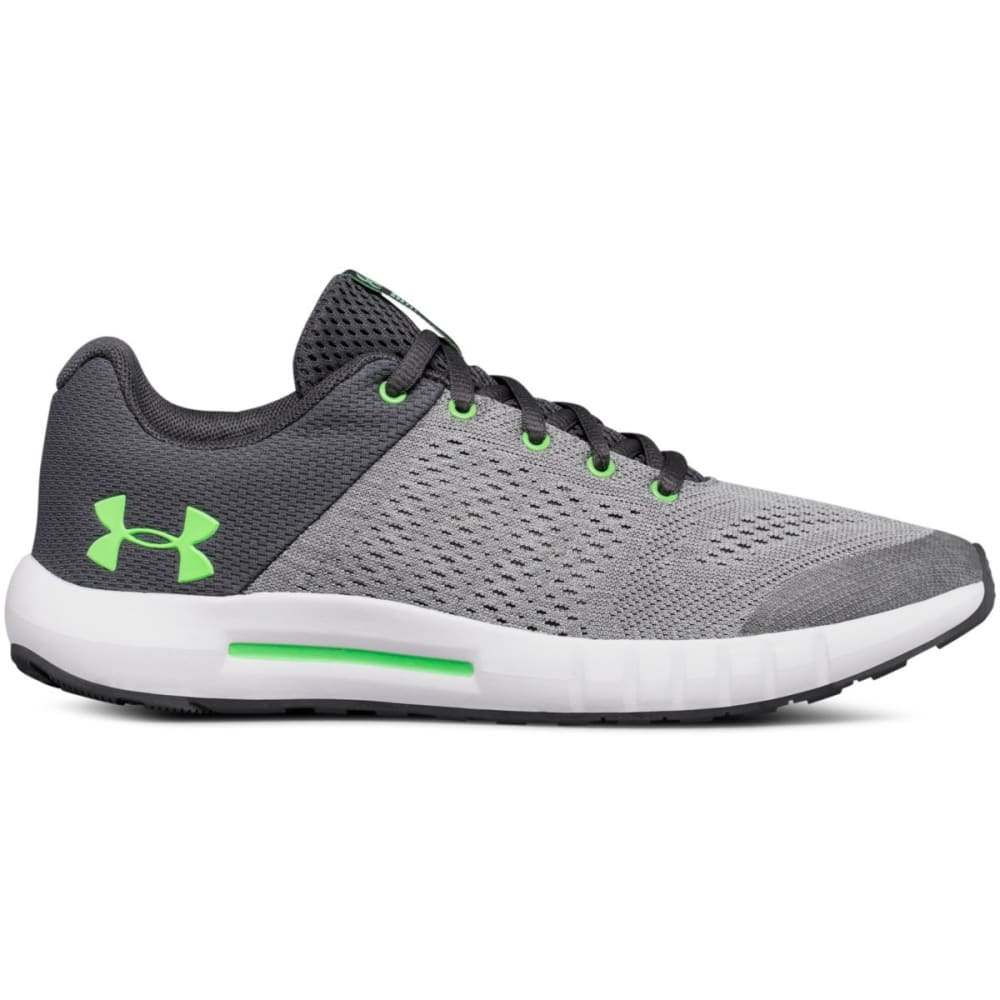 UNDER ARMOUR Big Boys' Grade School UA Pursuit Running Shoes - STEEL/WHT/GREEN-103