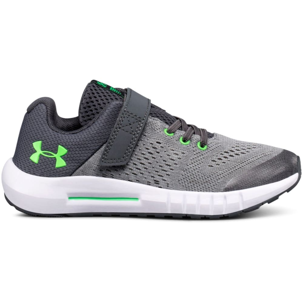 UNDER ARMOUR Little Boys' Preschool UA Pursuit Alternate Closure Running Shoes - STEEL/WHT/GREEN-100