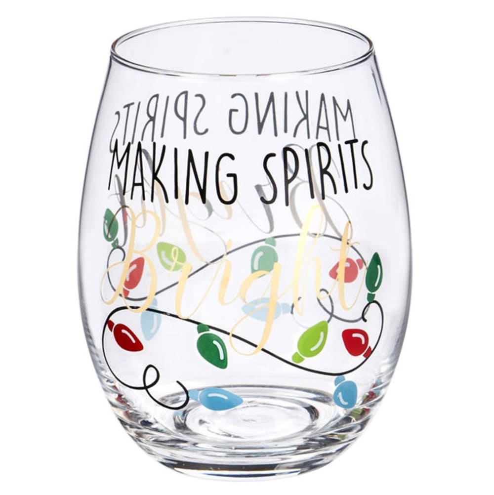EVERGREEN Making Spirits Bright Metallic Stemless Wine Glass - NO COLOR