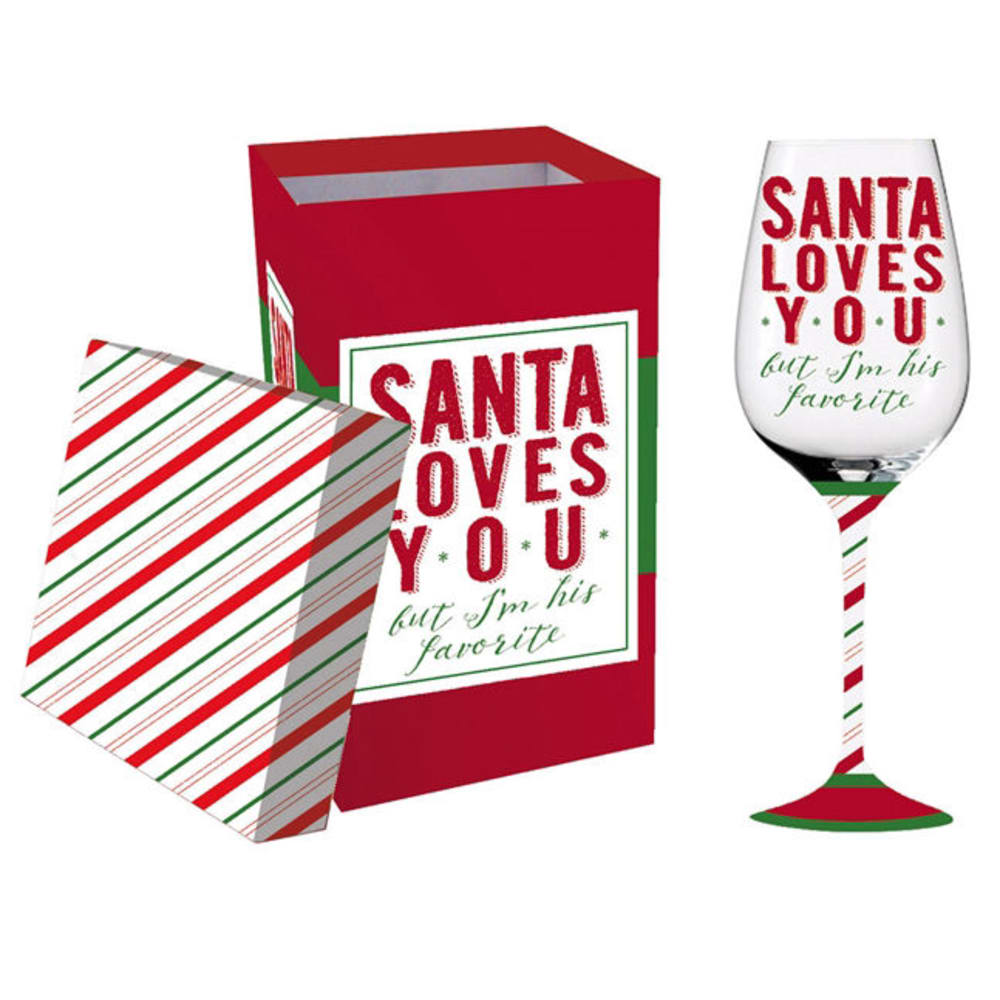 EVERGREEN Santa Loves You Stemmed Wine Glass - NO COLOR