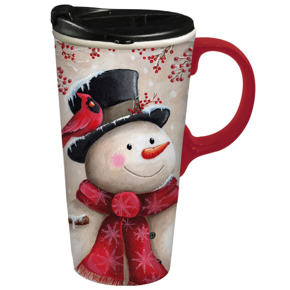 EVERGREEN Snowman and Cardinal Ceramic Travel Cup - NO COLOR