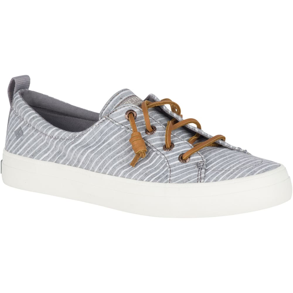 SPERRY Women's Crest Vibe Chambray Stripe Sneaker - GREY/WHITE