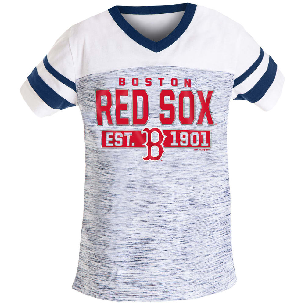 BOSTON RED SOX Girls' Short-Sleeve Space Dye Jersey Tee - NAVY