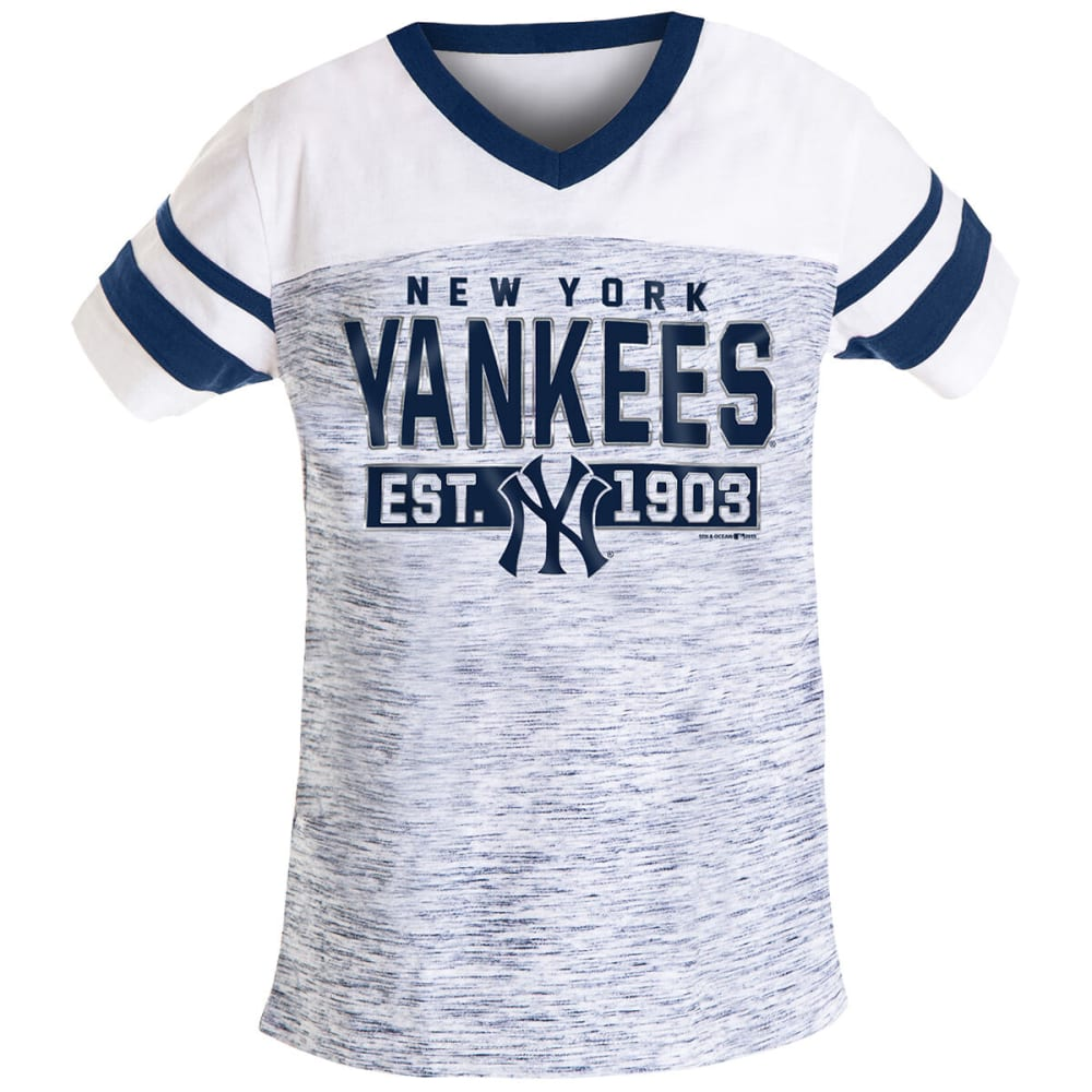 NEW YORK YANKEES Girls' Space Dye Short-Sleeve Jersey - NAVY